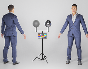 Respectable man in a black suit in A-pose 154 3D asset