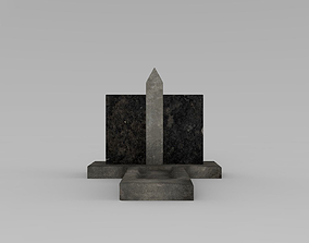 3D model game-ready tomb Lowpoly Gravestone