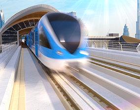 3D dubai metro stations with train