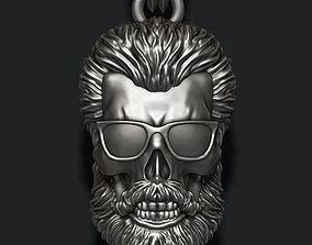 3D printable model Bearded skull pendant with sunglass