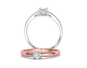 Heart design Solitaire Ring with 4mm stone