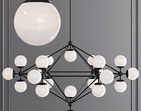 Modo 6 Sided Chandelier 21 Globes Black and Cream 3D model
