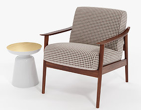 3D model Mid-Century Show Wood Upholstered Chair