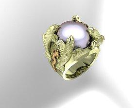 Carp fish ring 3D print model gift