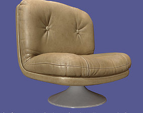 3D model Retro vintage 70s chair cream leather