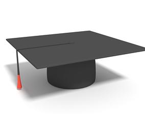 3D asset Low Poly Cartoon Graduation Hat