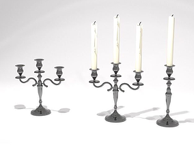3D silver antique single and triple candelabra 51cm high w