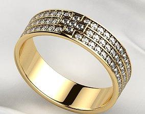 Pave Gems Elegant Gold Ring 3D print model