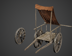 3D model Wooden Cart and Wheel Game Ready