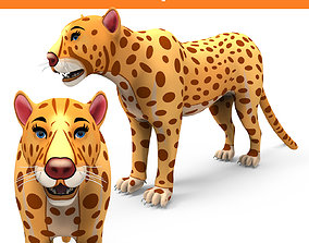 VR / AR ready 3D Cartoon Leopard low poly game ready