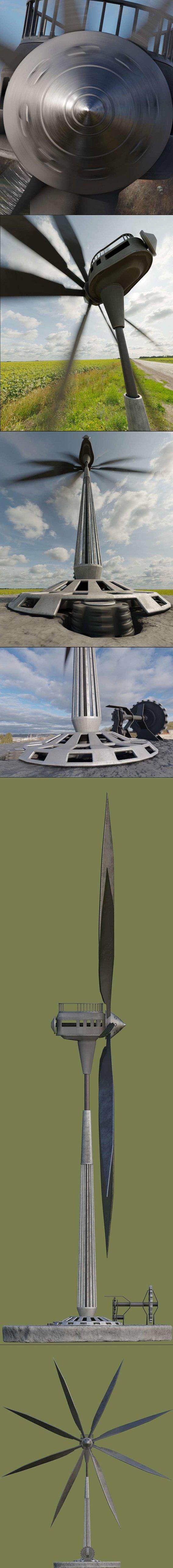 Steampunk Windturbine (Textured High-Poly) Blender-2.92