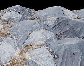 Plasic Trash Hill with Rock Sides 3D asset