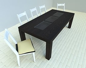 table wood wengue and chair 3D