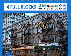 NYC - 4 Blocks - 37 Buildings V2 3D asset