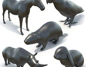 5 animal sculptures 02 3D model