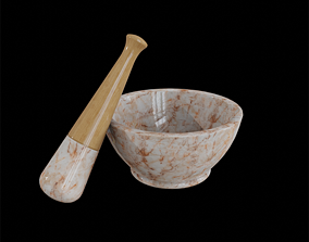 3D asset Apothecary Mortar and Pestle orange marble