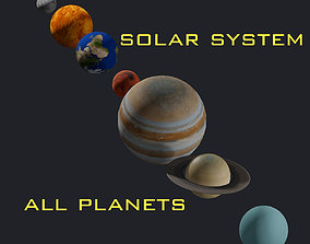 3D model Solar System - All Planets - Milky Way