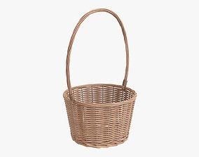 Wicker basket with long handle light brown 3D model