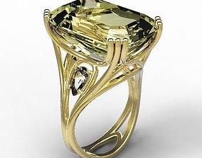 3D print model Ring gold citrine