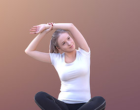 10677 - Sporty Woman Sitting On The Ground 3D model
