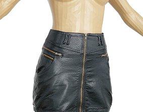 Skirt Black Leather Clothing Women Fashion 3D model
