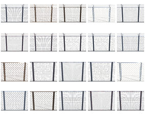 3D model 20 Piece Low Poly Fence Pack