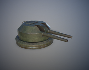 3D model game-ready Gun Turret