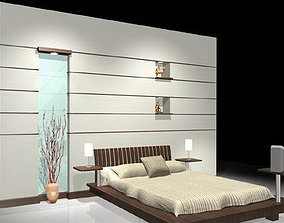 3D model Bed With Back wall