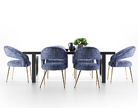canteen 3D model Modern dining table and chair