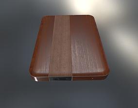 External Hard Drive Low Poly Wood Version - 3D model 3