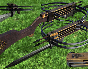 Double shot Crossbow 3D asset low-poly