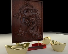 3D Chinese gold ingot with dragon pattern