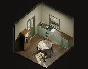 isometric interior dinning room 3D model