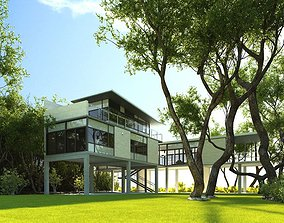 3D model Modern House With A Yard