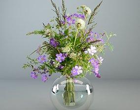 3D Wildflowers in glass vase