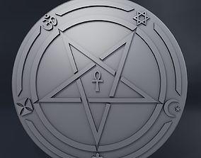 Medallion inverted pentagram 3D print model