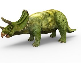 Green Triceratops Rigged 3D Model rigged