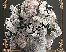 bouquet of white flowers in a gift box 91 3D