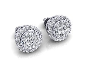 diamond Fancy Stud Earring 3d Model Print