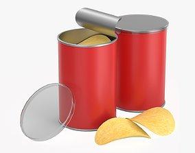 3D model Carton tube packaging for potato chips