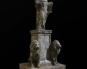 3D model Old statue with two lions