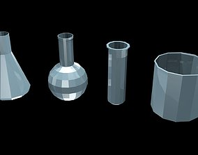 Low poly chemical flasks 3D model