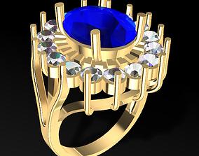 Diana Classic Sapphire and Diamonds Ring 3D print model