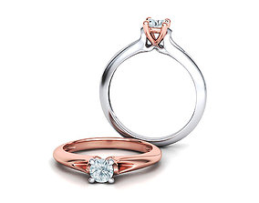 Solitaire Engagement ring Own design 3D print model 1