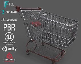 Old Rusty Metal Shopping Cart 3D asset