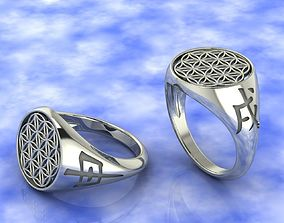 Ring amulet Flower of Life gold 3D print model
