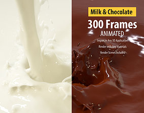 Pouring Milk Chocolate Animated Splash 3D