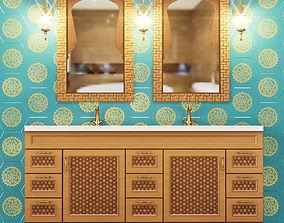 3D model Wash basin cupboard two sinks