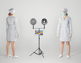 3D model Young surgical nurse with mask and sterile 1