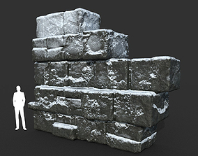 Low poly Snow Ruin Medieval Construction 07 3D asset